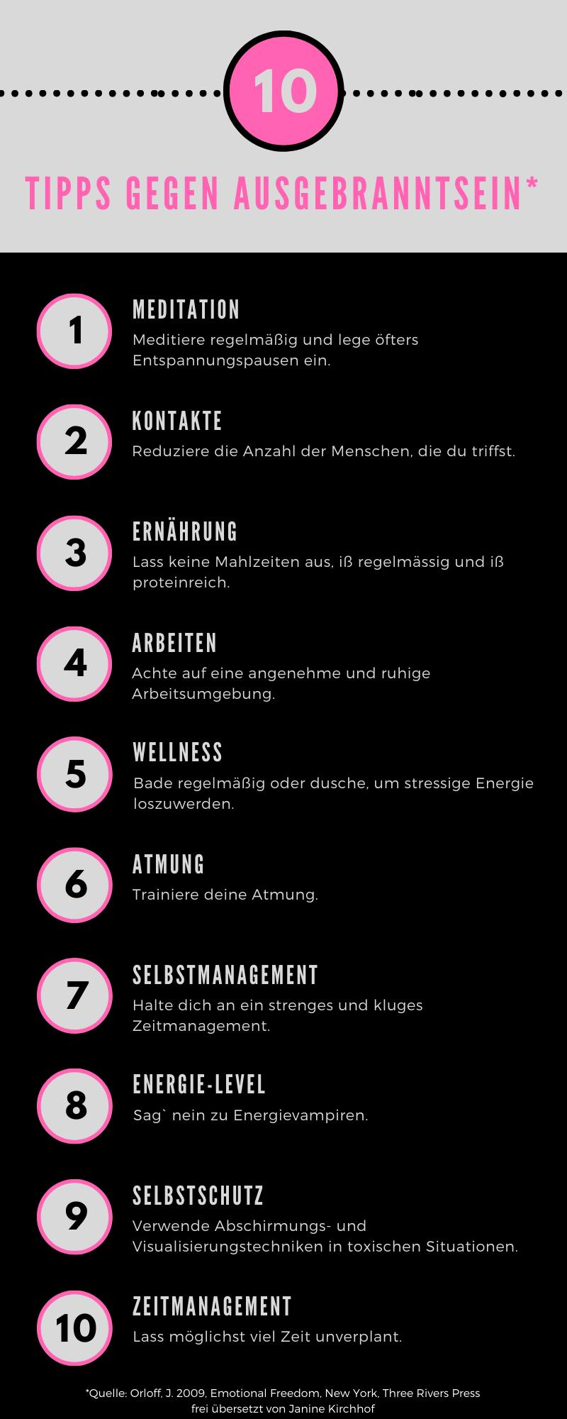Zehn Tipps gegen Ausgebranntsein