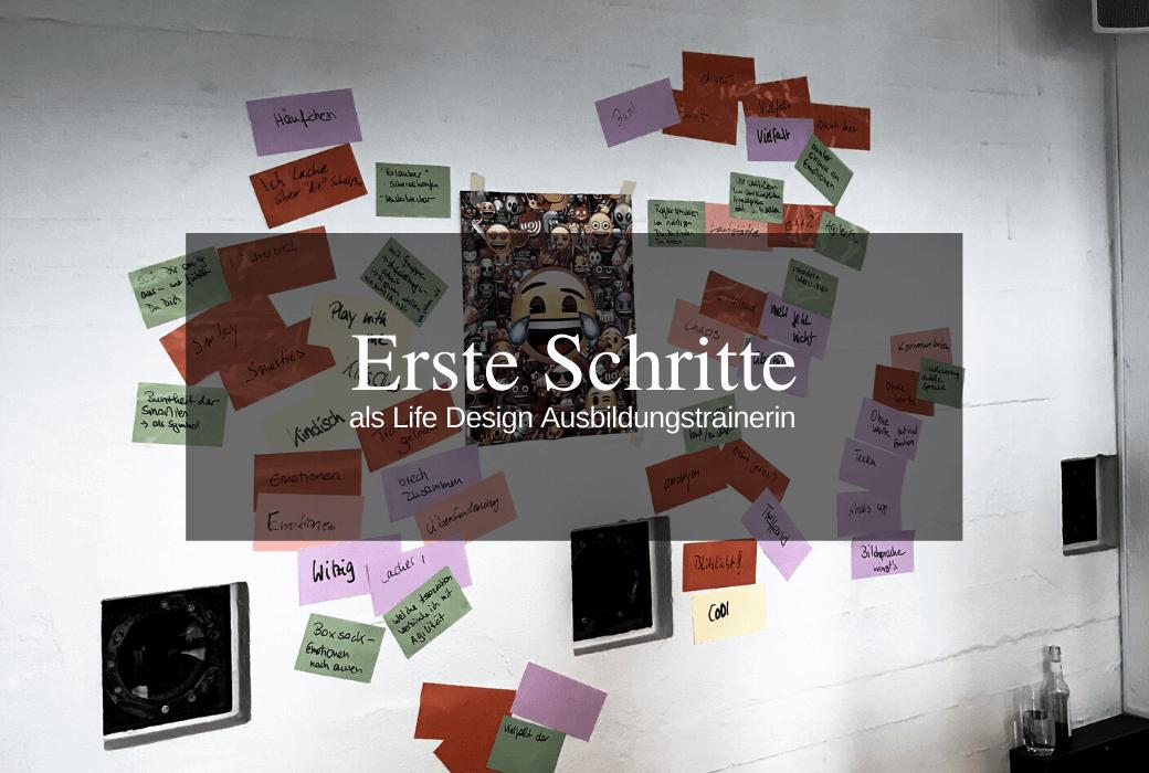 Kreative Umsetzung einer Life Design Übung mittels Poster und bunten Statt Notes