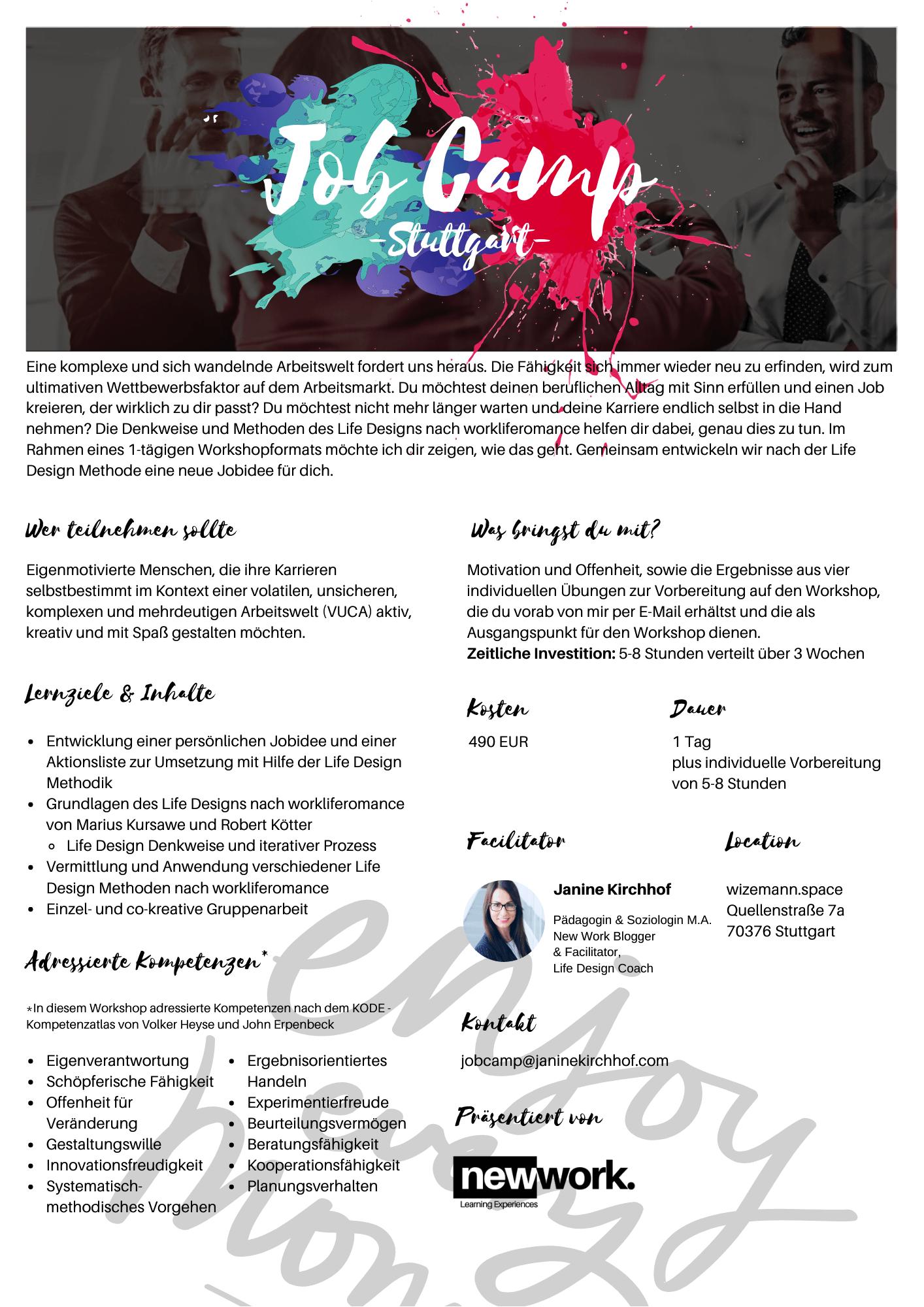 Kursbeschreibung Job Camp -Stuttgart-