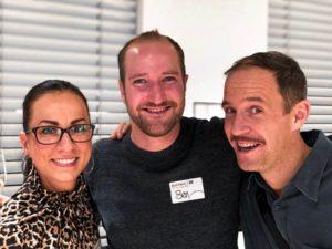 Drei fröhliche Leute beim Working Out Loud Camp 2019